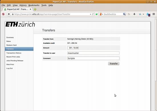 Druckkredit-Transfer